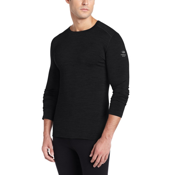 Icebreaker Men's Oasis Long Sleeve Crewe Top, Black