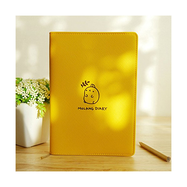 "Molang Diary Ver.3 Undated Planner Journal Scheduler Organizer Agenda Kawaii Cute Rabbit 4.5"" x 6.5"" - Authentic Korea item (Honey Yellow)"
