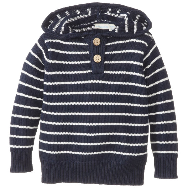 JoJo Maman Bebe Baby-Boys Infant Breton Hooded Jumper, Navy/Ecru Stripe, 12-18 Months