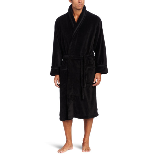 Intimo Men's Solid Corel Fleece Shawl Collar Robe