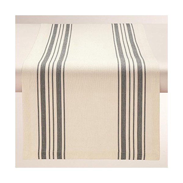 Black Villa Stripe Table Runner - World Market