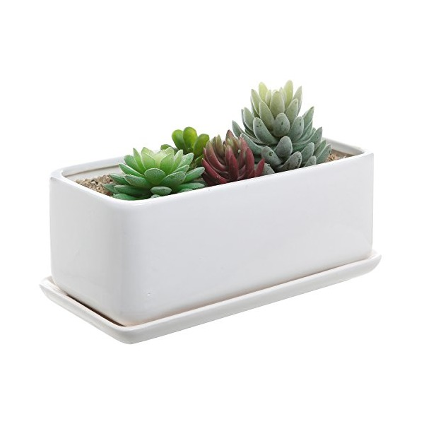 10 inch Rectangular Modern Minimalist White Ceramic Succulent Planter Pot / Window Box with Saucer