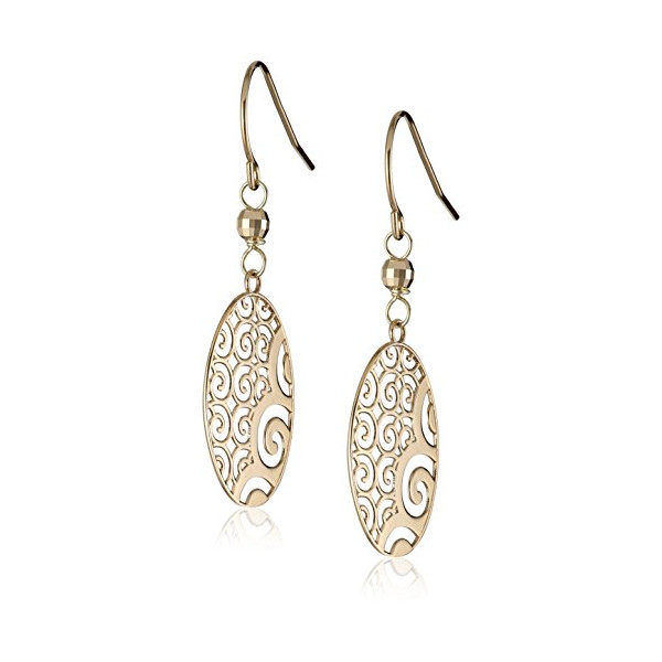 Duragold 14k Yellow Gold Oval Ornament Earrings
