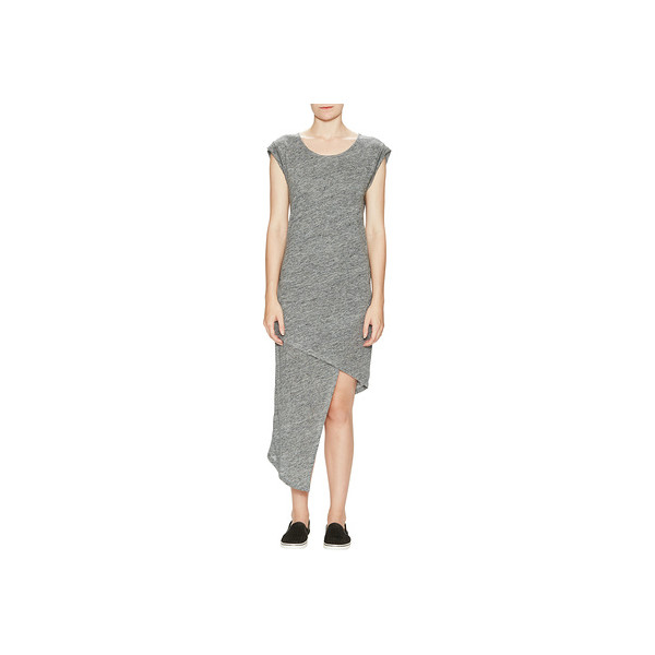 Alternative Linen Asymmetrical Midi Dress, Charcoal Heather