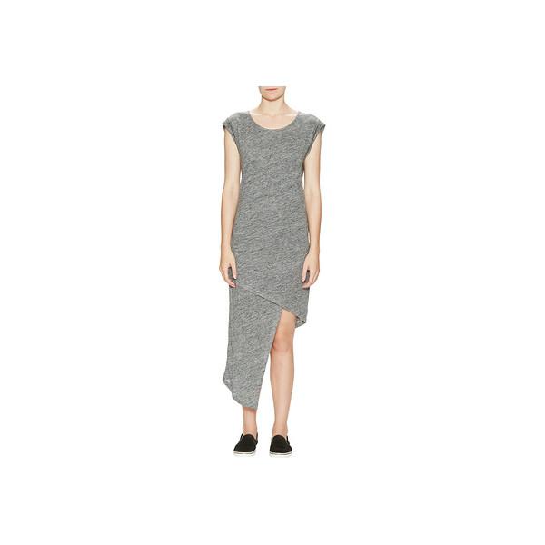 Alternative Linen Asymmetrical Midi Dress, Charcoal Heather
