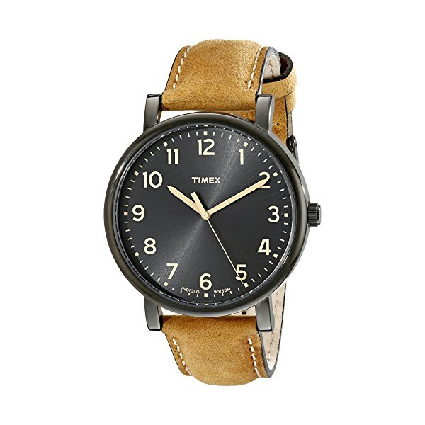 Timex Unisex T2N677AB Originals Black Watch with Tan Leather Band