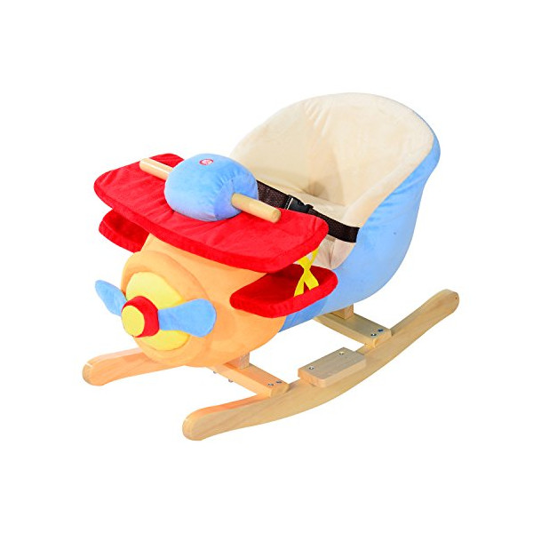 Qaba Kids Plush Rocking Horse Airplane w/ Nursery Rhyme Sounds
