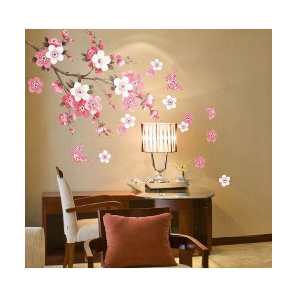 Plum Blossom Flowers Butterfly Wall Decal Home Sticker (DESIGN 1, 1)