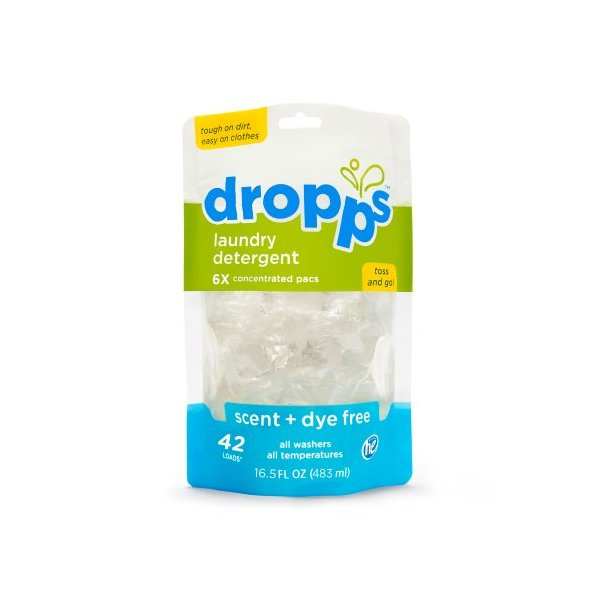 Dropps Laundry Detergent Pacs, Scent and Dye Free, 42 Loads (Pack of 2)