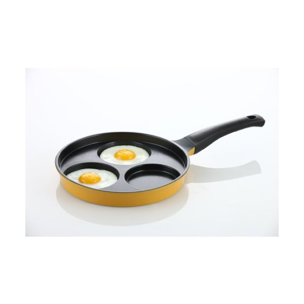 "Flamekiss 9.5"" Orange Ceramic Coated Nonstick 3-Cup Egg Cooker Pan by Amorè, Innovative & Elegant Design, Nano Ceramic Coating w/ Silver Ion (100% PTFE & PFOA Free)"