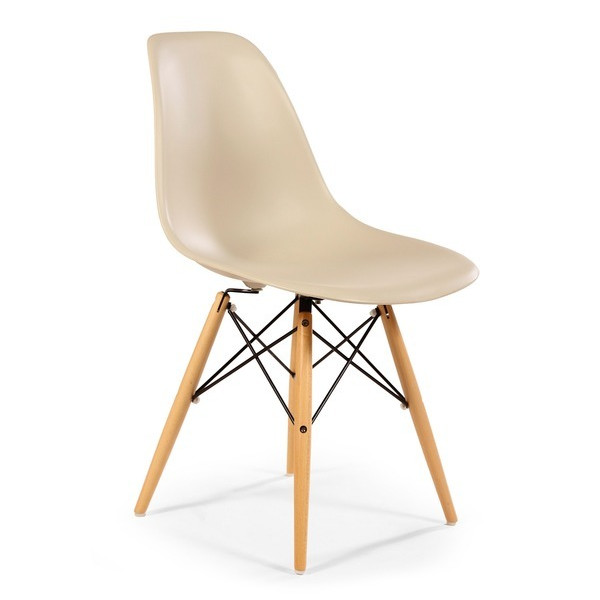 Mid-Century Eames Style DSW Dining Chair, Set of 2, Beige