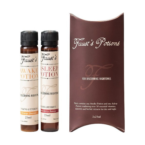 Faust's Potions Awake/Asleep Recovery Pack for Hangovers, Jet Lag and Fatigue