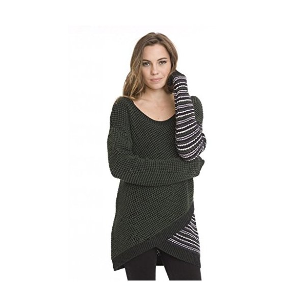 Women's Stylish Shawn Knit Long Tunic Sweater Dress by One Grey Day Green-L
