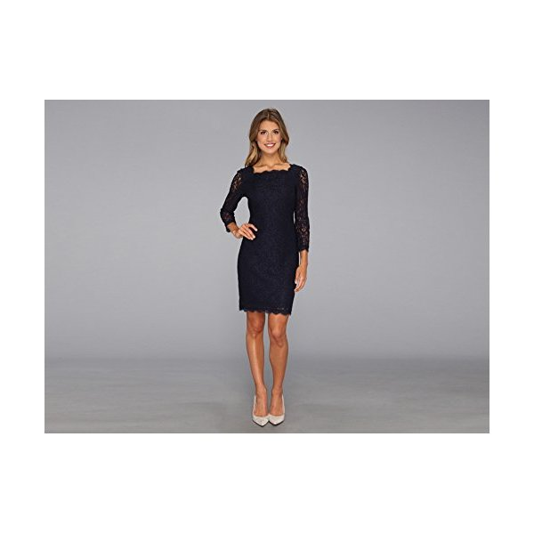 Adrianna Papell Women's Long Sleeve Lace Dress, Navy, 4
