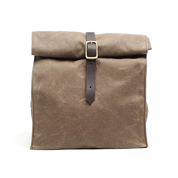 Handmade Waxed Canvas Lunch Bag, Brown