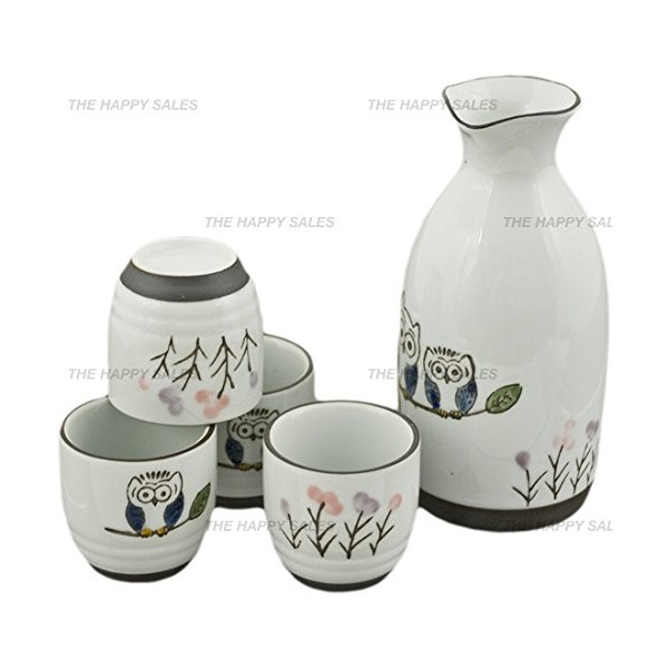 Happy Sales 5 pc Sake Set Owl #7384