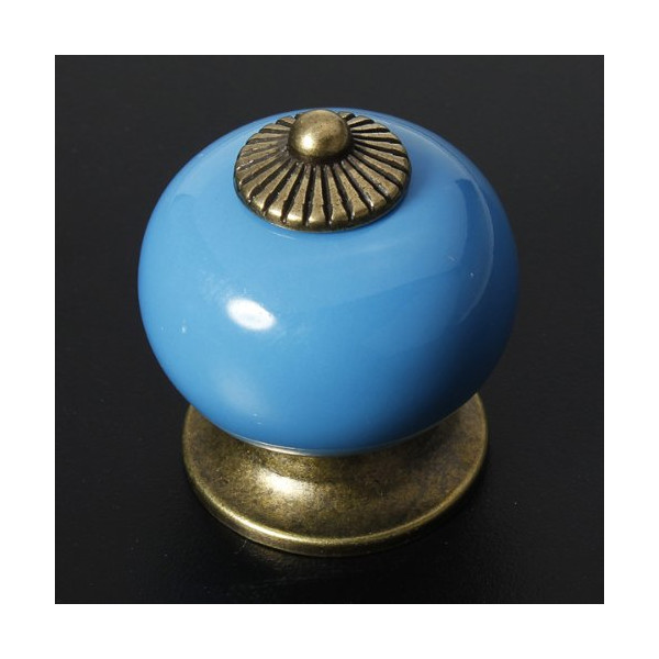 KingSo® Blue Europe Ceramic Knob Door Cabinet Cupboard Drawer Locker Vintage Retro Gold Furniture Kitchen Pull Handles