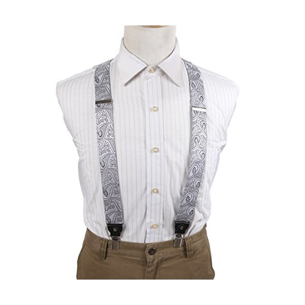 EFBB0031 Grey Patterned Extendable Microfiber Y-Back Suspenders Stainless Steel Clip Exporters For Working By Epoint