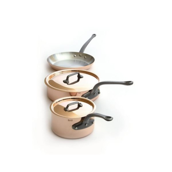 Mauviel M'Heritage Copper M250C 6501.00 5-Piece Copper Cookware Set, Cast Iron Handle