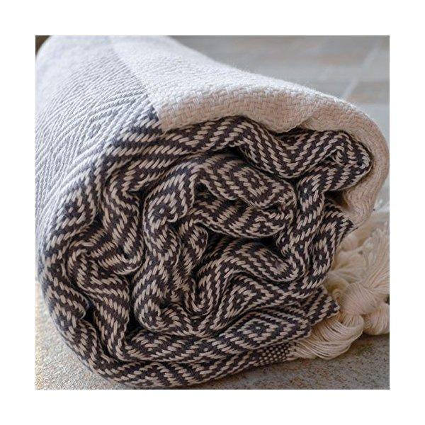 Diamond - Gray Turkish Towel Peshtemal - 100% Natural Dyed Cotton - for Beach Spa Bath Swimming Pool Hammam Sauna Yoga Pilates Fitness Gym Picnic Blanket (Dandelion Textile)
