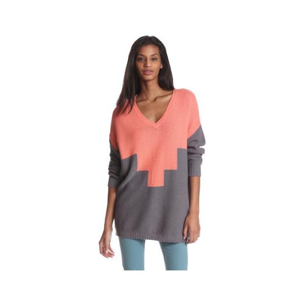 BCBGeneration Women's Intarsia V-Neck Pullover, Sherbert Combo, X-Small/Small