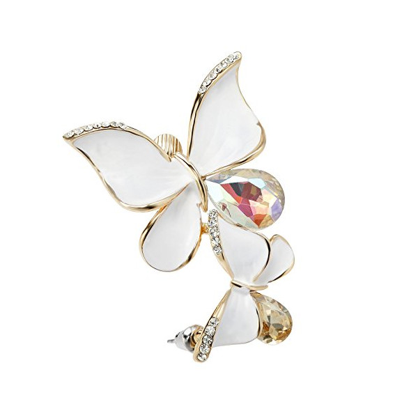 OKAJEWELRY Punk Gold Crystal White Butterfly Ear Wrap Left Over Ear Cuff Earring