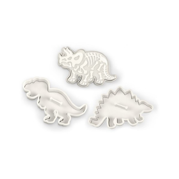 Fred and Friends DIG-INS Dinosaur Fossil Cookie Cutter/Stampers, Set of 3