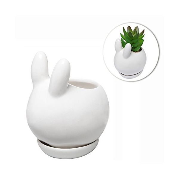 Decorative Bunny Rabbit Design White Mini Ceramic Plant Flower Pot Succulent Planter w/ Saucer - MyGift®