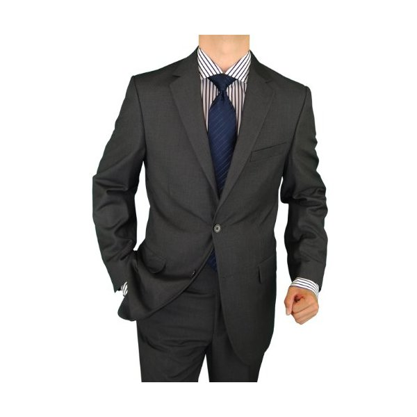 Salvatore Exte Mens Suit Wool Feel 2 Button Jacket Flat Front Pants Charcoal Gray (44 Long)