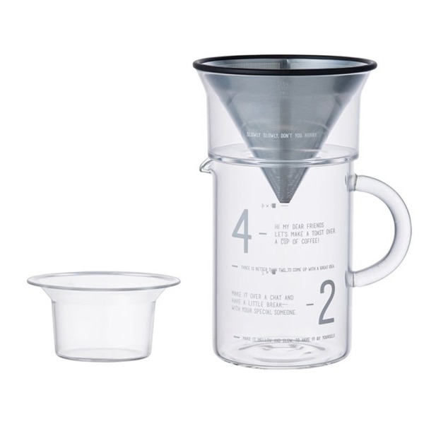 Kinto Pour-Over Coffee Jug with Stainless Steel Filter - Slow Coffee Style