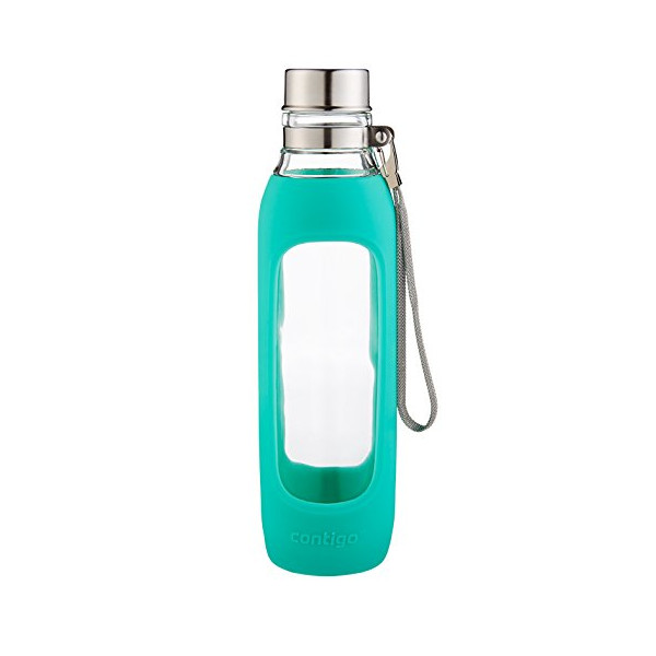 Contigo Purity Glass Water Bottle, 20-Ounce, Greyed Jade