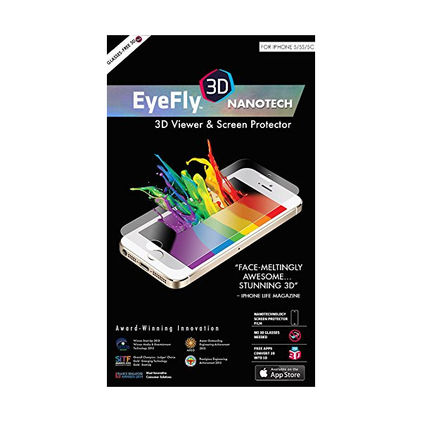 EyeFly3D Nanotech for iPhone 5/5S/5C - World's first PET (Polyethylene Terephthalate) screen protector which turns an ordinary iPhone 5 screen into a 3D display, without the need for 3D glasses. Fingerprint and Water Resistant.