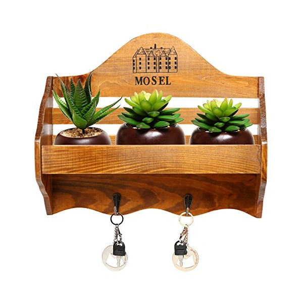 "Country Rustic ""Mosel"" Wall Mounted Wood Wall Rack / Planter Shelf / Storage Rack w/ 2 Key Hooks"