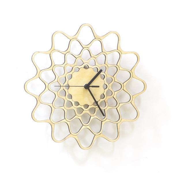 Embroidery - contemporary modern wall clock made of wood, wooden clock, kitchen clock, wood wall art
