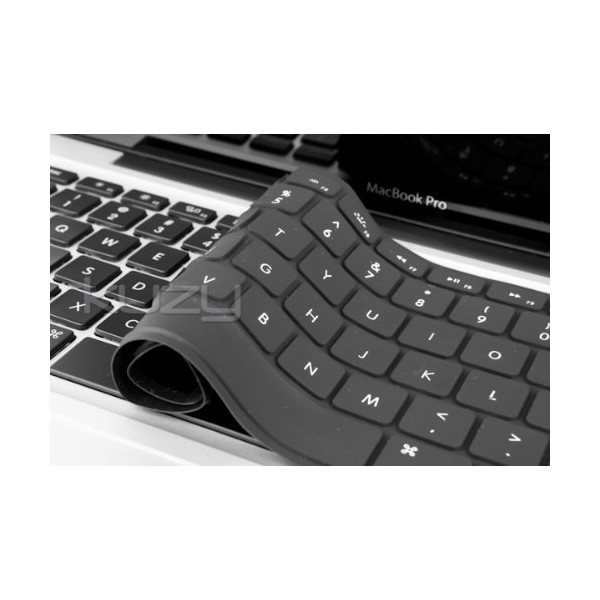 "Kuzy - Solid Black Keyboard Cover Silicone Skin for Air / MacBook Pro 13"" 15"" 17"" (with or w/out Retina Display)"