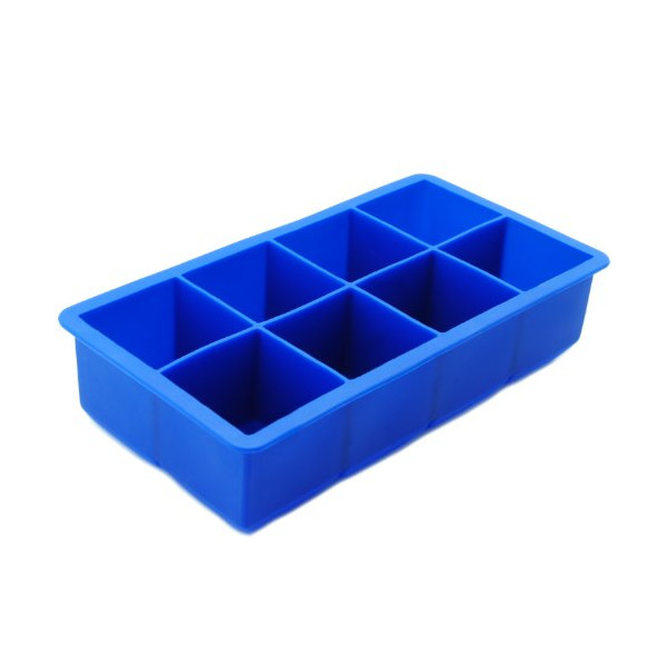 Freshware FI-112BL 8-Cavity Jumbo Cube Silicone Ice Tray, 2-Inch, Blue