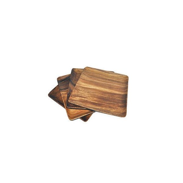 Pacific Merchants Acaciaware 7-Inch Acacia Wood Square Plate, set of 4