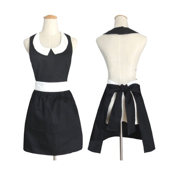 Hot New Stylish Fashion Models Beautiful Home Black Aprons for Women Girls Cake Vintage Apron Chic