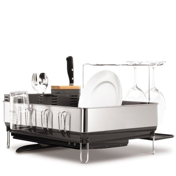 simplehuman Steel Frame Dishrack with Wine Glass Holder and Bamboo Knife Block, Grey