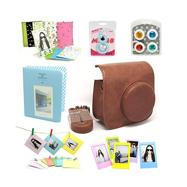 CAIUL Accessory Bundle for Fujifilm Instax Mini 8 Instant Camera (Brown) (7 Items)