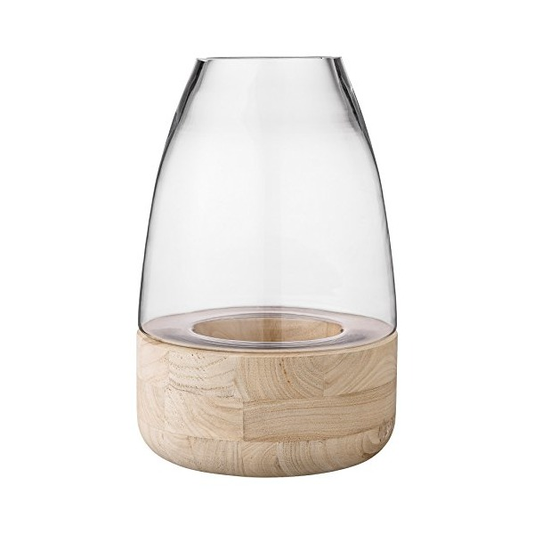 Bloomingville Glass Lantern with Wood Base, Small