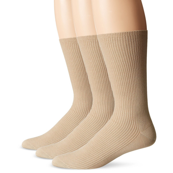 Calvin Klein Men's 3 Pack Dress Socks, Sand