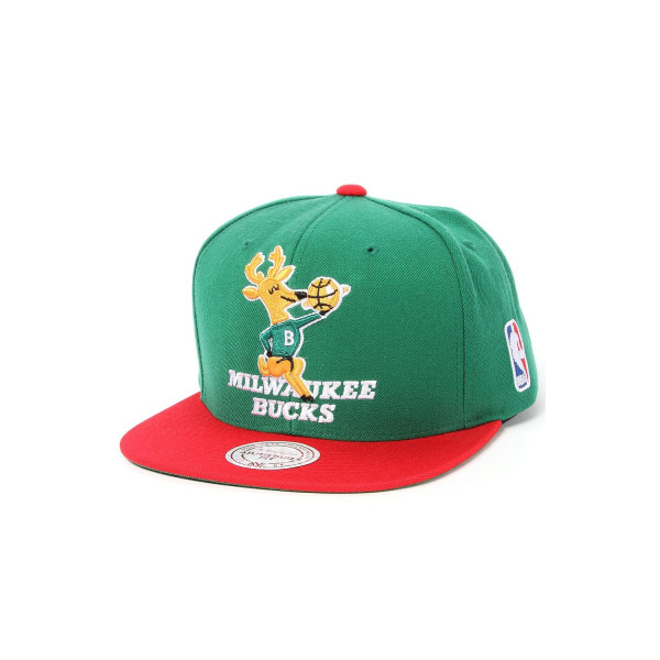 Milwaukee Bucks Mitchell & Ness XL Vintage Logo 2 Tone Snapback Green and Red Hat