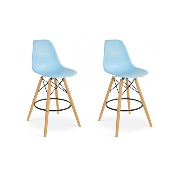 Set of 2 Eames Style DSW Plastic Bar Stool with Wood Eiffel Legs in Blue