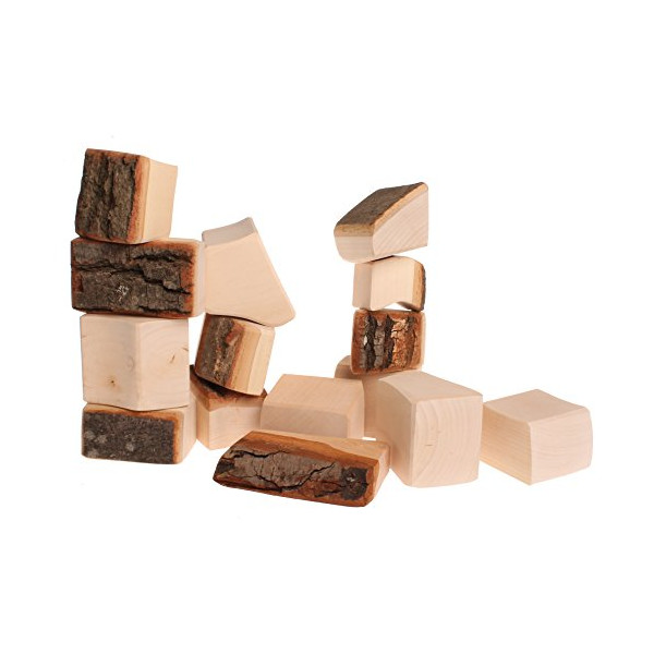 Grimm's Large Waldorf Wooden Building Blocks in Organic Shapes (with Bark Rind)