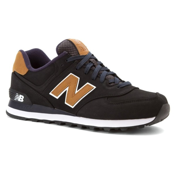 New Balance Men's ML574 Lux Pack Running Shoe, Black/Tan, 7.5 D US