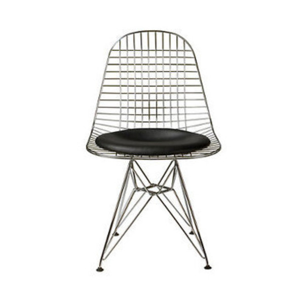 Eiffel Wire Chair with Genuine Leather Seat Inspired by Eames
