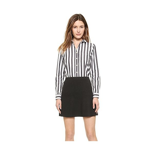Maison Kitsune Women's Classic Jagg Stripes Shirt, Black Stripe, 38