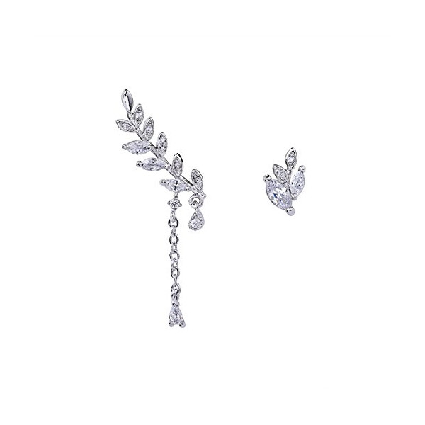 OKAJEWELRY 925 Sterling Silver Ivy Leaves Earrings Post Cubic Zircon Ear Sweep Wrap Cuff Earring