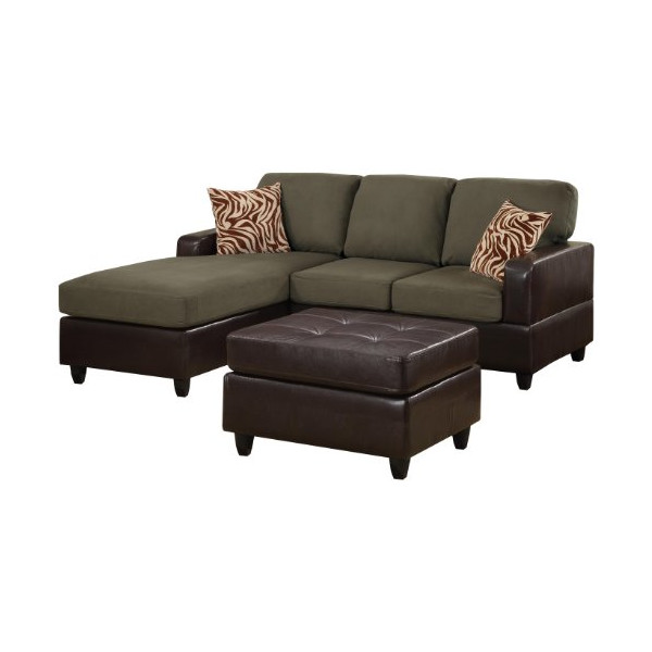 Bobkona Manhattan Reversible Microfiber 3-Piece Sectional Sofa with Faux Leather Ottoman in Sage Color